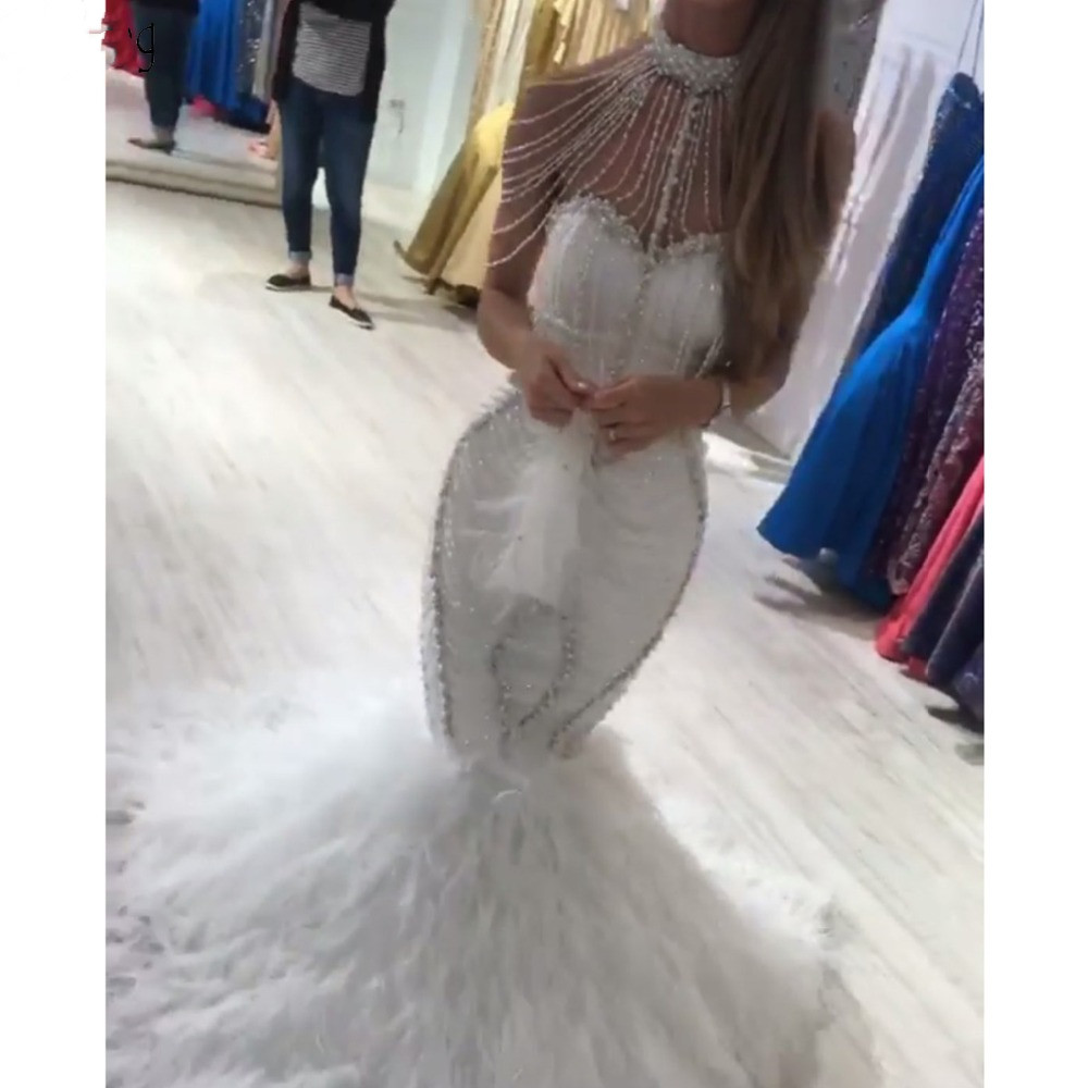 Evening Dresses 2020 Sexy High Neck White Beading Feather Prom Night Party Gown Floor Length Women Wear Vestidos De Fiesta