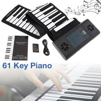 61 Keys MIDI Roll Up Electronic Piano Rechargeable Silicone Flexible Keyboard Organ Built-in 2 Speakers Support Audio Bluetooth