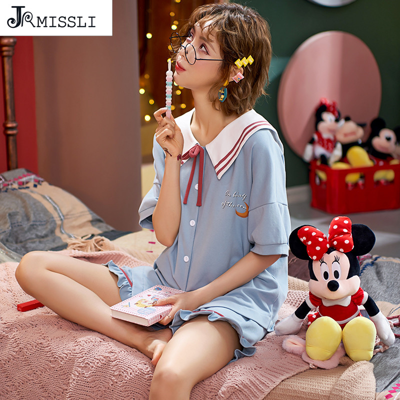 JRMISSLI Cotton Summer Princess Women PijamaTurn-down Collar Button Down Short Sleeve Pants Pajamas Girl Sleepwear Pyjamas