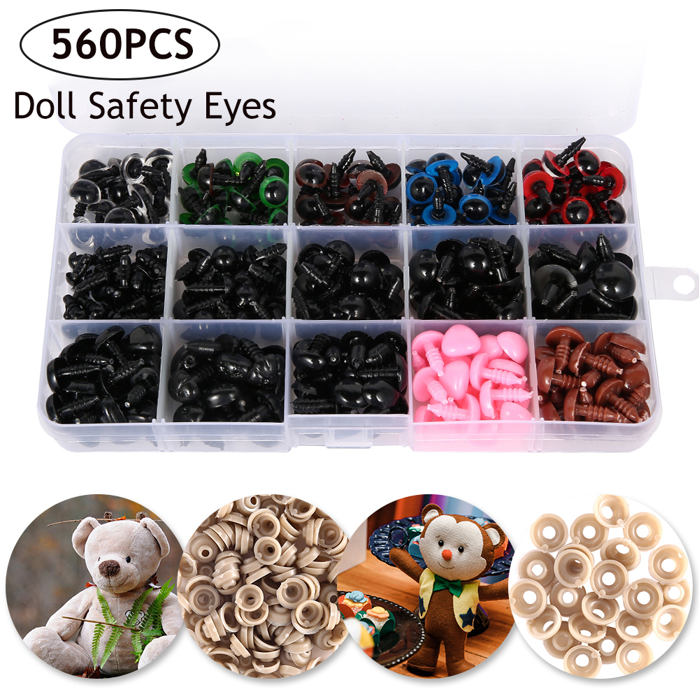 560PCS 6-14mm Plastic Crafts Safety Eyes For Teddy Bear Doll Eyes With Washers Soft Toy Snap Nose Puppet Doll DIY Accessories