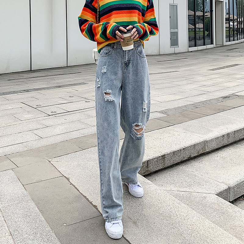 Woman Jeans High Waist Ripped Jeans 2020 Denim Straight Clothes Wide Leg Denim Clothing Blue Streetwear Fashion Vintage Pants