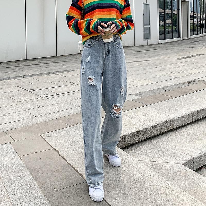 Woman Jeans High Waist Ripped Jeans 2020 Denim Straight Clothes Wide Leg Denim Clothing Blue Streetwear Fashion Vintage Pants