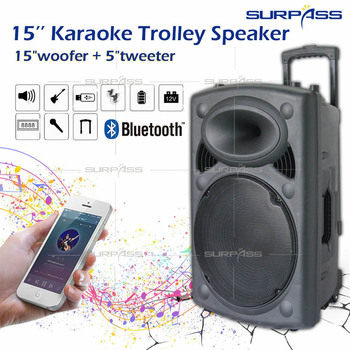 15inch Home Audio Speaker Rechargeable Battey Music Player With Wireless Microphone