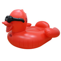 Adult Giant Inflatable Red Duck Pool Float Summer Ride on Air Bed Mattress Swimming Fun Water Beach Toys