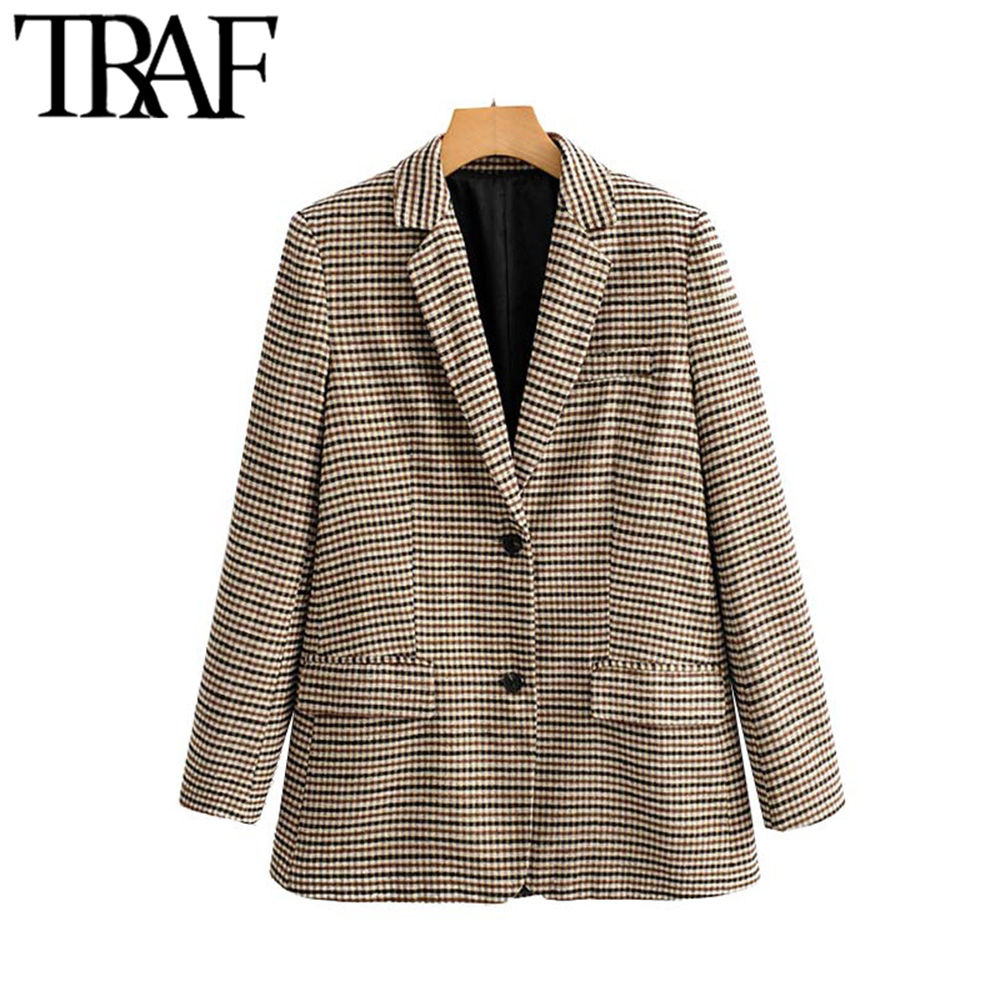 TRAF Women Vintage Stylish Office Wear Houndstooth Tweed Blazer Coat Fashion Long Sleeve Pocket Plaid Female Outerwear Chic Tops
