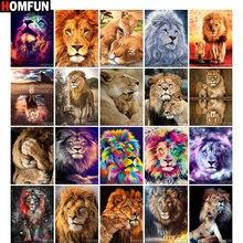 HOMFUN Plein Carré/Rond Perceuse 5D BRICOLAGE Diamant Peinture Animaux Lions