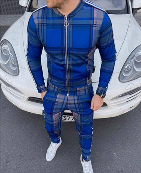 2020 Europe and the United States new fashion casual suit 3D color plaid casual Jacket Street Jogging pants Men's Suit women s suit europe and the united states tropical seaside beach holiday suit casual pajamas printing two piece set