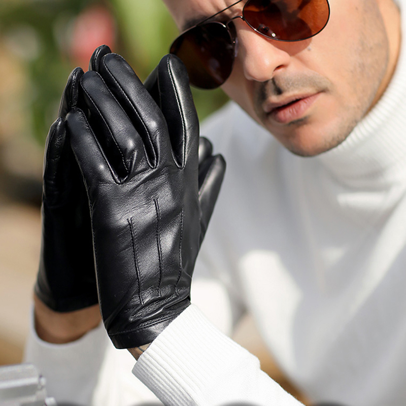 Men One Whole Piece Of Leather Wrist Button Top Leather Gloves Black