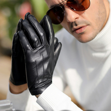 men one whole piece of leather wrist button top gloves black