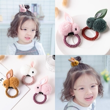 Fashion Cute Ball Rabbit Hair Ring Female tie rope Korean Elastic Rubber Bands Bunny Rope Childrens Accessories
