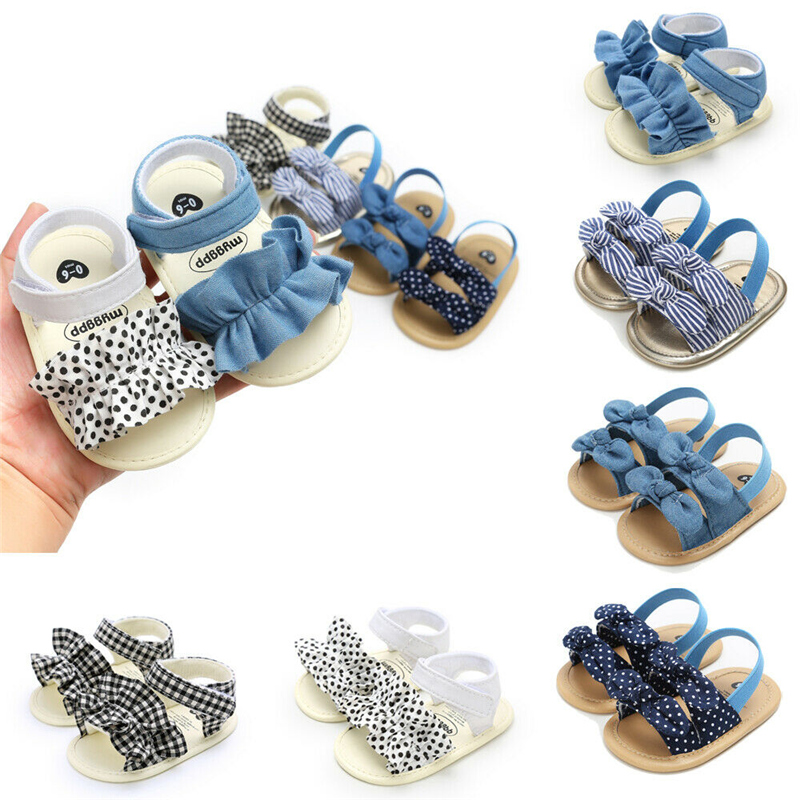 2020 Summer Newborn Infant Baby Girls Princess Bowknot Shoes Soft Sole PU Sandals Shoes Fit For 0-18M