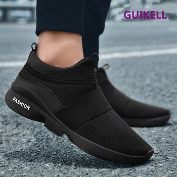GUIKELL Autumn all black soled sports shoes casual breathable mesh shoes men's soil without shoelaces pure black work shoes