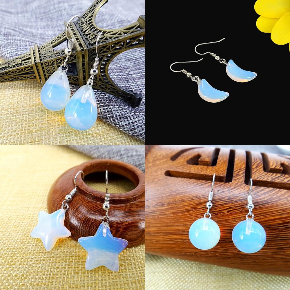 Pedras preciosas naturais forma de gota estrelas sol lua liga orelha gancho opala brincos festa feminina banquete roupas com acessórios