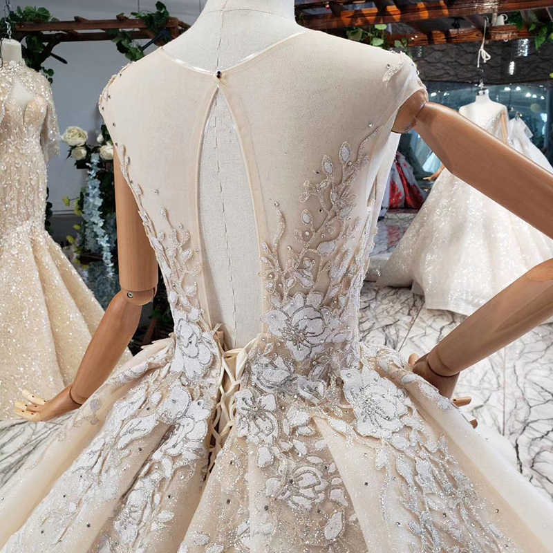 HTL761 vestido de fiesta de lujo vestido de novia con apliques de cuello redondo manga de tapa trasera abierta especial vestido de novia elegante vestido largo