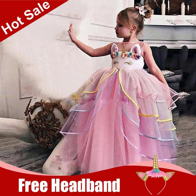 Baby Kids Girls Princess Costume Wedding Bridesmaid Gown Long Dress 4-12 Age New