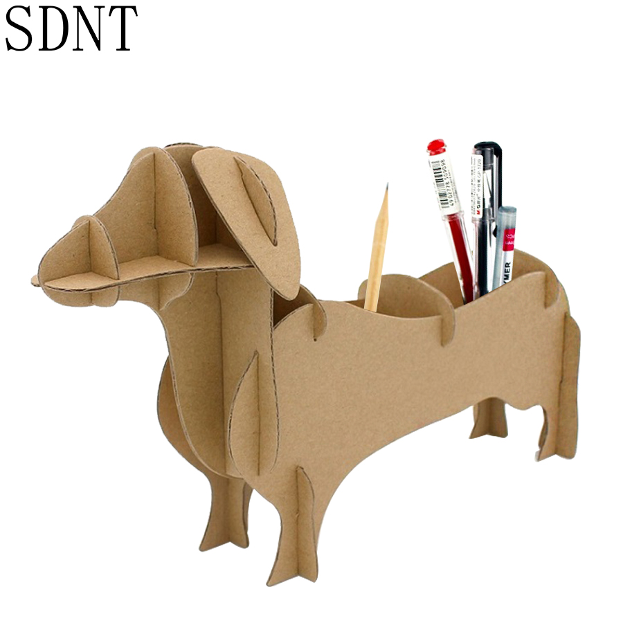DIY Cute Dachshund Model Puzzles Toy DIY Handmade Storage Box Assembly Paper Puzzle Toys Gift For Children Decoration Model