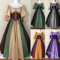 Halloween new cosplay medieval Renaissance retro hit color stitching flying flying sleeves waistband tie big swing skirt