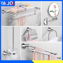 Towel Holder Set Stainless Steel Rack Hanging Bathroom Accessories Bar Makeup Mirror Wall Mount Paper