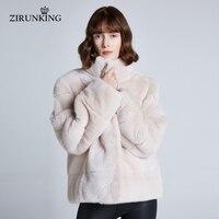 ZIRUNKING Women Brand New Real Mink Fur Coats Lady Reversible Warm Mink Fur Jacket Female Winter Fur Outerwear ZC1947