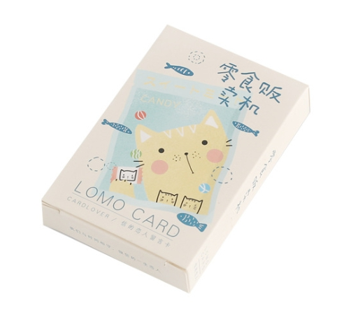 52mm*80mm Happy Cat Paper Greeting Card Lomo Card(1pack=28pieces)