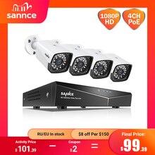 SANNCE 4CH 1080P HDMI POE NVR Kit CCTV Security System 2MP IR IP66 Waterproof Outdoor IP Camera Plug&Play Video Surveillance Set