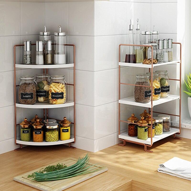 Multifunction Stackable Kitchen Shelf Organizer Shelves For Spices Metal 2/3 Tiers Rose Gold Storage Rack For Kitchen Bathroom