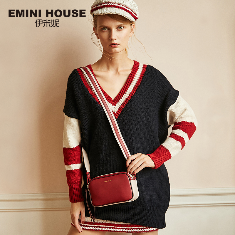EMINI HOSUE Litchi Grain Crossbody Bags For Women 2018 Split Leather Women Messenger Shoulder Bag Female Stylish Square Bag-in Top-Handle Bags from Luggage & Bags    1