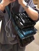 by H 2020 Newest Cusion Woven Bag Luxury Cowhide Woven Camera Bag Designer Sponge Messenger Bag Blue Shoulder Bag Padded Bag