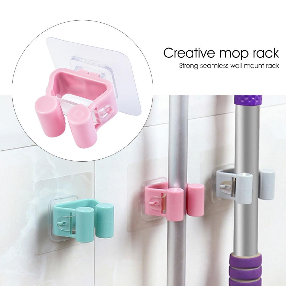 Wall Mounted Mop Rack Hook Bathroom Mop Sticky Hanger Clip Mop Shelf Holder Home Kitchen Organizer Storage Holders Racks