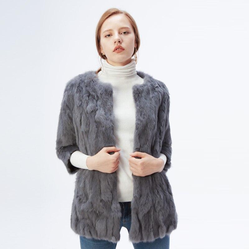 Ethel Anderson 100 Real Rabbit Fur Coat Women s O Neck Long Rabbit Fur Jacket 3