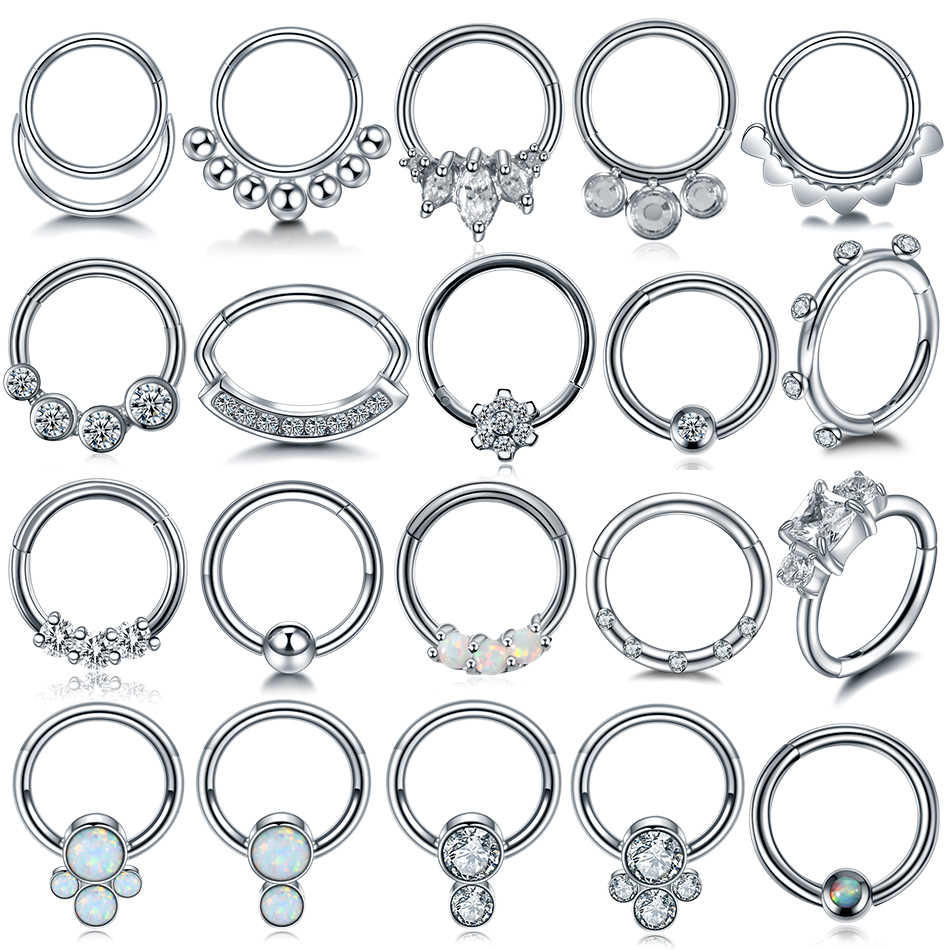 1PC 16G Opal Nose Septum Clicker Nose Ring Hoop Piercings Ear Helix Cartilage Daith Rook Nariz Earring Septum Piercings Jewelry