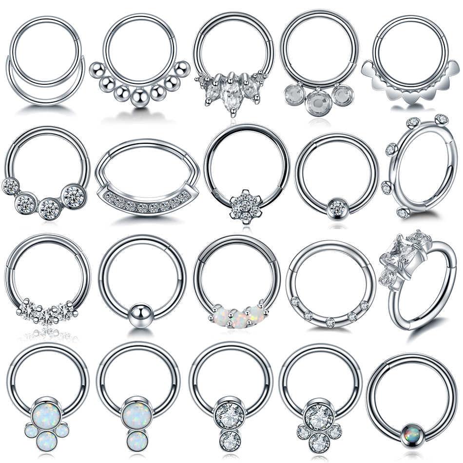 1PC 16G Opal Nose Septum Clicker Nose Ring Hoop Piercings Ear Helix Cartilage Daith Rook Nariz Earring Septum Piercings Jewelry