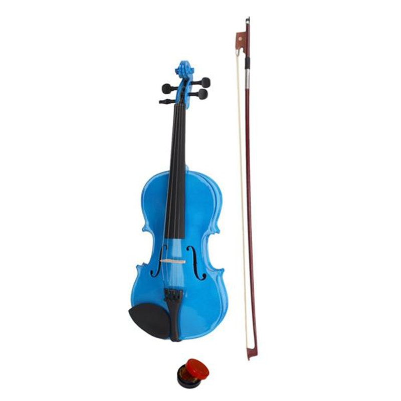 Blue New Beginner Violin 4/4 59cm Acoustic Violin+Bow +Case +Rosin Accessories image