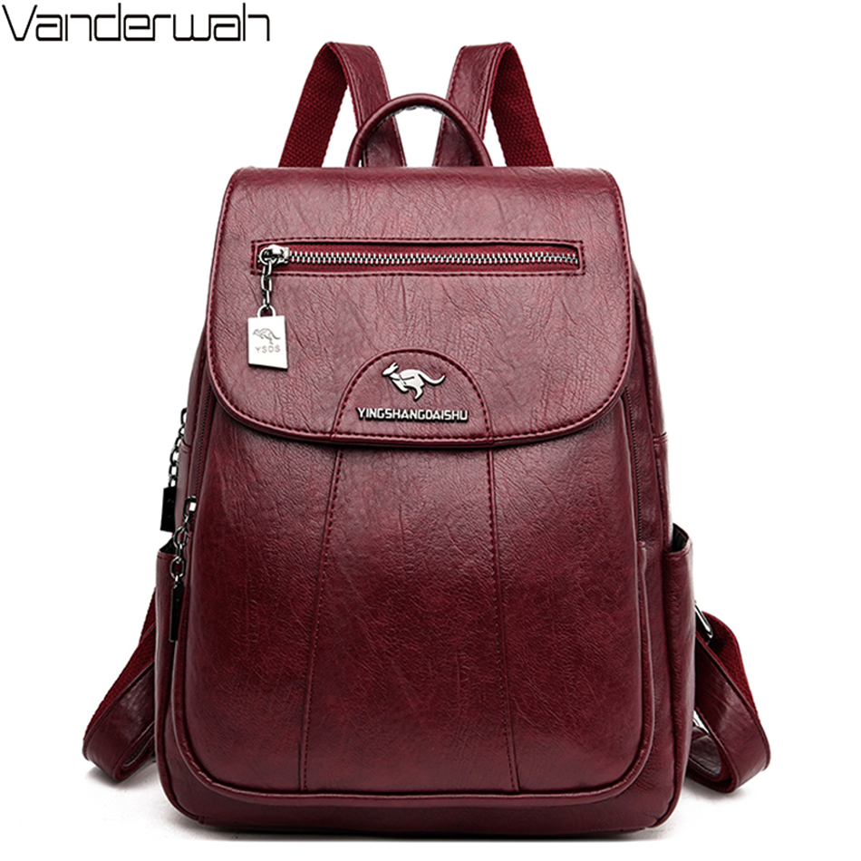 Vintage Women Designer Luxury Backpacks High Quality PU Leather School Bags For Teenager Girls Travel Bagpack Mochila Mujer 2020
