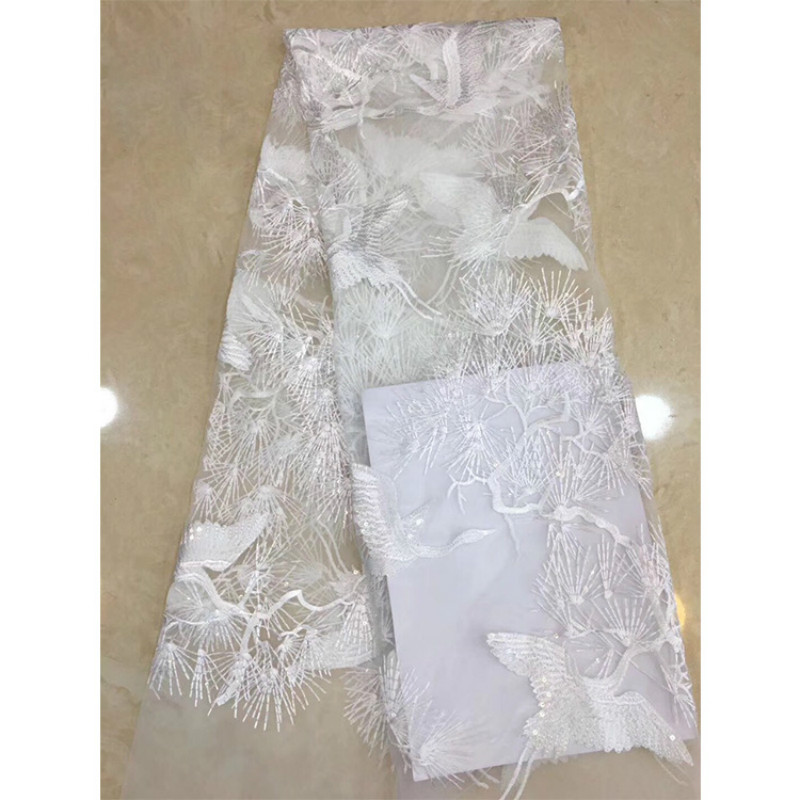 New Retro Crane Mesh Embroidery Dress Fabric Soft Fashion Lace Wedding Dress