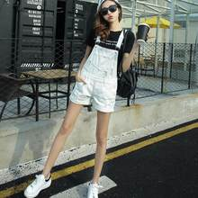 College Wind Summer Denim Bodysuit Shorts Slim Straps Loose Plus Size Jumpsuit Casual Vintage White Black Pink Overalls AH716(China)