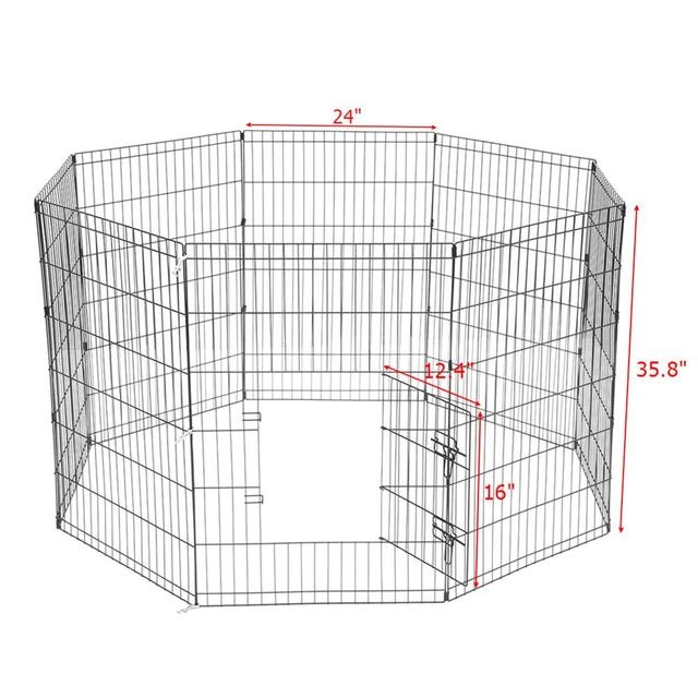 8 Panel Foldable Pet Dogs Cats Fence Small Animal Cage Indoor Portable Metal Wire Yard Fence Rabbits Kennel Crate Fence Tent 6