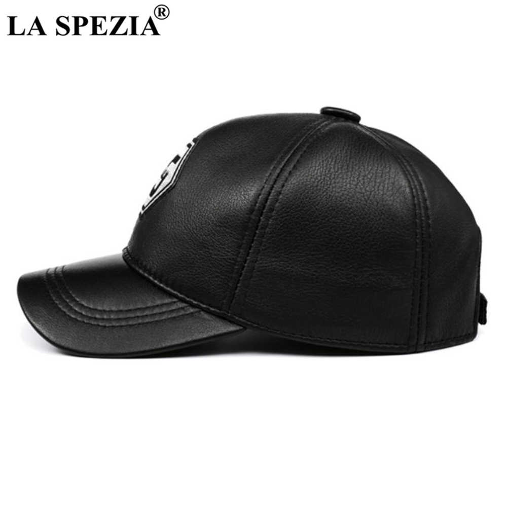 لا سبيتسيا حقيقية قبعة بيسبول جلدية الرجال النساء الأزرق الأسود المرقعة عالية الجودة الذكور الإناث الشتاء قبعة أبي