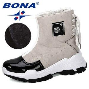 Image 1 - BONA 2019 nowi projektanci mody przypadkowi buty damskie buty skórzane buty grube obcasie buty śniegowce Femme damskie buty wygodne