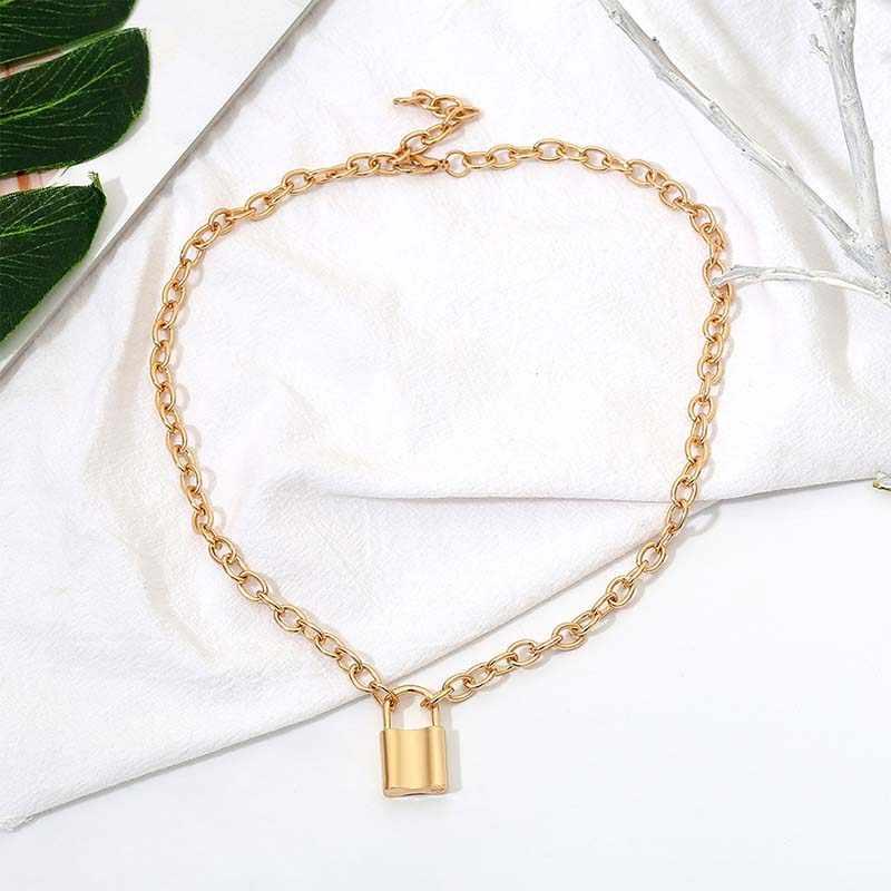 النساء مجوهرات/الذهب اللون قفل قلادة قلادة العلامة التجارية الجديدة الفولاذ المقاوم للصدأ كابل سلسلة قلادة الصداقة الهدايا