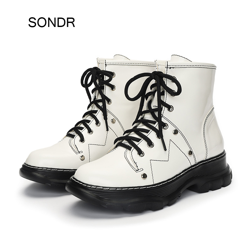 White Boots Shoes Women Martin Boots Black Spring Fashion Brand Ladies Chunky Footware Female Zapatos De Mujer Cross-tied Shoes