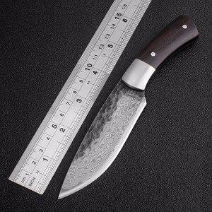 Image 1 - חיצוני טקטי קבוע סכיני גבוהה פחמן פלדת דמשק דפוס סכין בעבודת יד קמפינג ציד סכין EDC כלים משלוח חינם