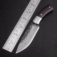 Açık taktik sabit bıçaklar yüksek karbonlu çelik şam desen bıçak el yapımı kamp av bıçağı EDC araçları ücretsiz kargo