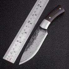 Ao ar livre tático facas fixas de alta carbono aço damasco padrão faca artesanal acampamento caça faca edc ferramentas frete grátis