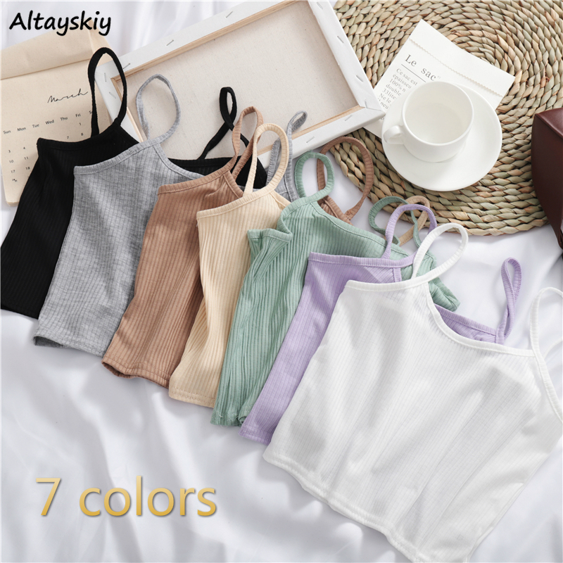 Camisoles Women New Summer Sleeveless Cami Chic White Womens Sexy Crop Top Harajuku Street Casual Knit Off Shoulder Lady Outwear