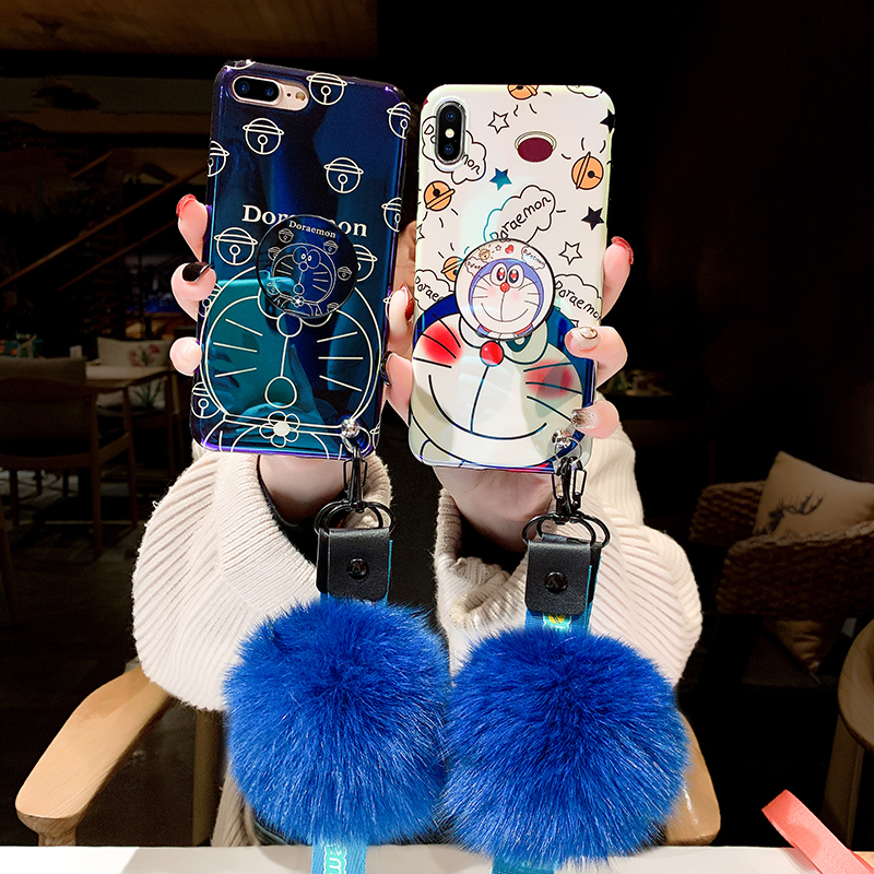 Blue Ray Doraemon Cartoon Soft Silicone <font><b>Case</b></font> With Bracket Neck Rope For <font><b>Samsung</b></font> S10e S8 S9 Note 9 8 10 Plus A10s <font><b>A20</b></font> A30 A50 A70 image