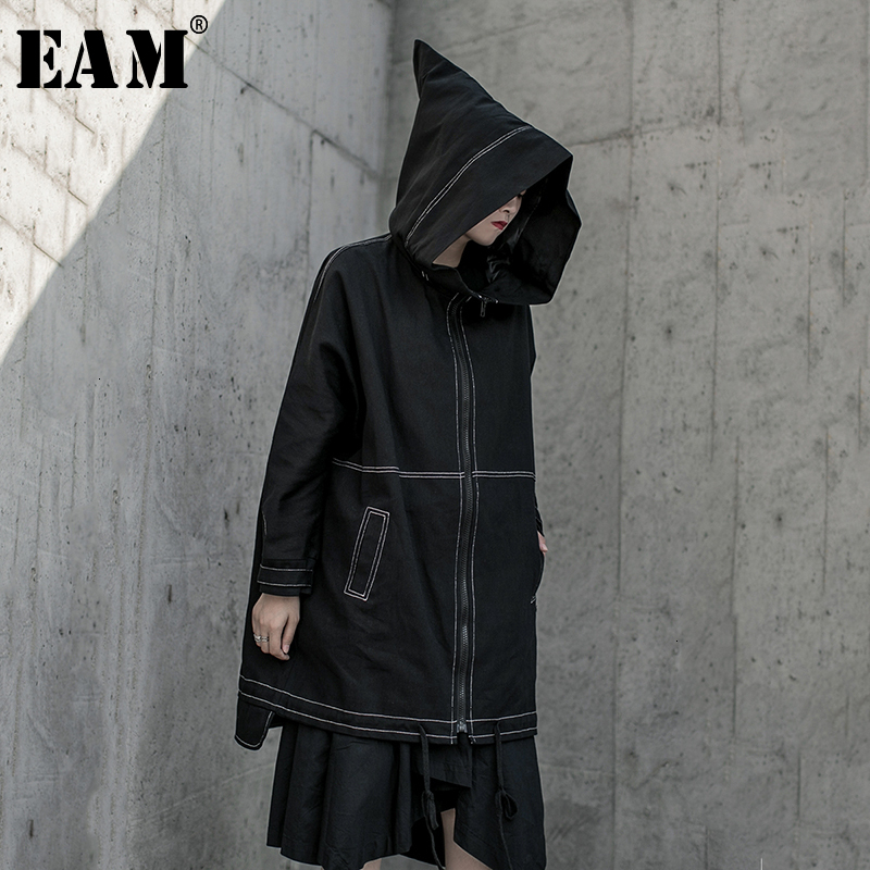 [EAM] Women Black Big Size Ling Split Trench New Hooded Long Sleeve Loose Fit Windbreaker Fashion Spring Autumn 2020 19A-a813