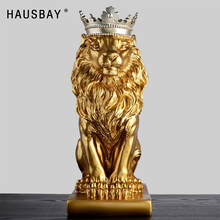 Abstract Resin Lion Sculpture Crown Lion Statue Handicraft Decorations Lion King Modle Home Decoration Accessories Gifts 05446