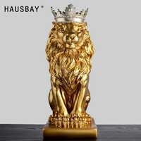Abstrakte Harz Löwen Skulptur Crown Lion Statue Handwerk Dekorationen Lion King Modle Hause Dekoration Zubehör Geschenke 05446