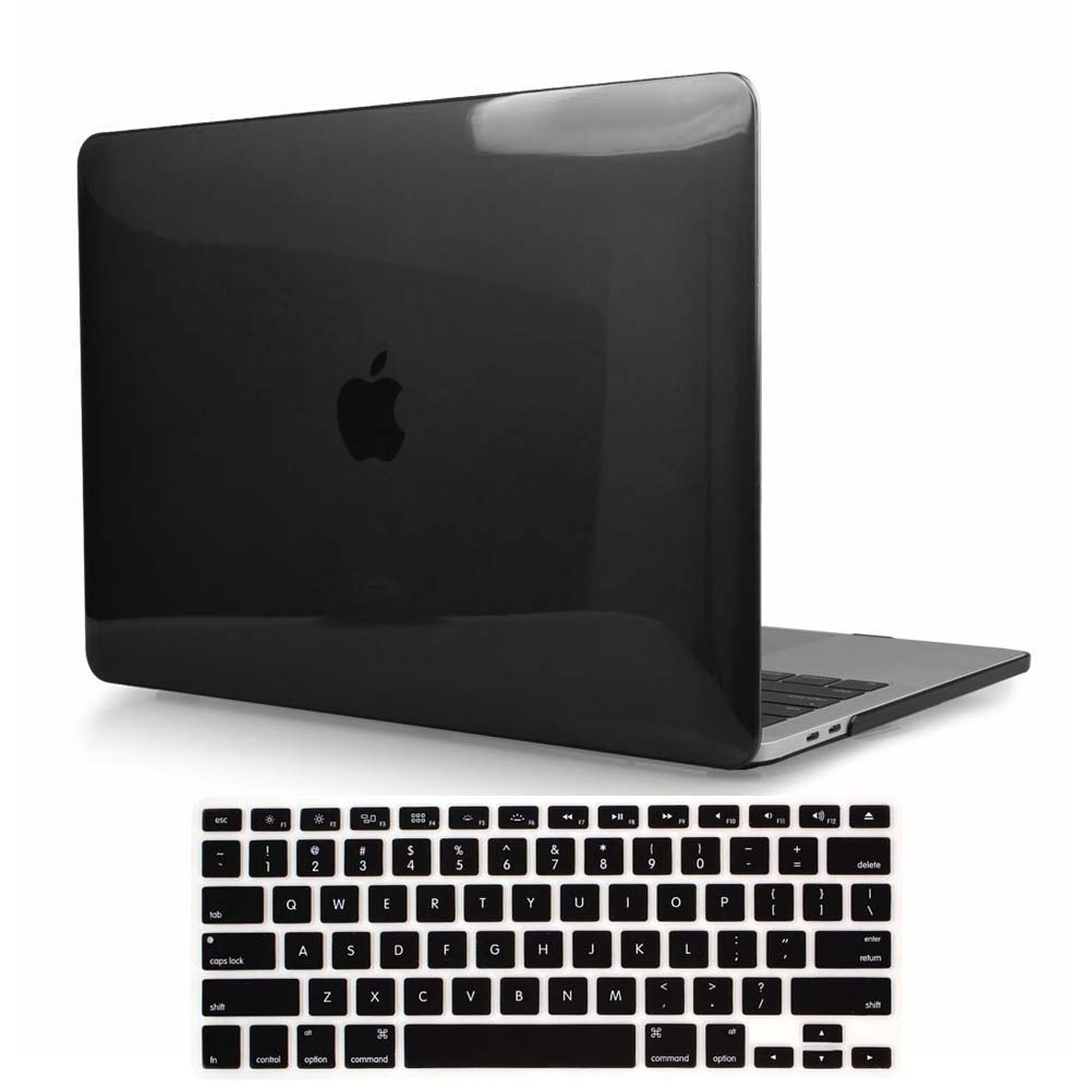 KK&LL For Apple MacBook Air Pro Retina 11 12 13 15 - Black Crystal Shell  Laptop Protector Case + Keyboard Cover